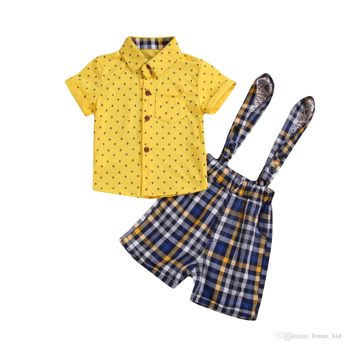 c4075a83d35 2019 Newborn Baby Boys Plaid Overalls Yellow Shirts Set Outfit Baby Kids  Boys Sailboat Clothes Cute Summer Little Gentlemen Suit 0 24M From  Bonne kid