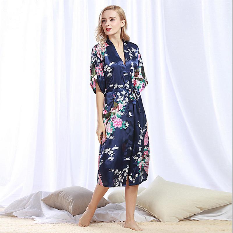 3972c97231 2019 Brand New Black Women Satin Kimono Robes Long Sexy Nightgown Vintage  Printed Night Gown Flower Size S M L XL XXL XXX From Beimu