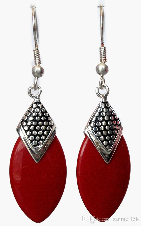 "unique Genuine fabulous 925 Silver Red Coral Flat Drop Earrings 14/5"" jade Natural Stone Ball Earring DANGLE EARRINGS"