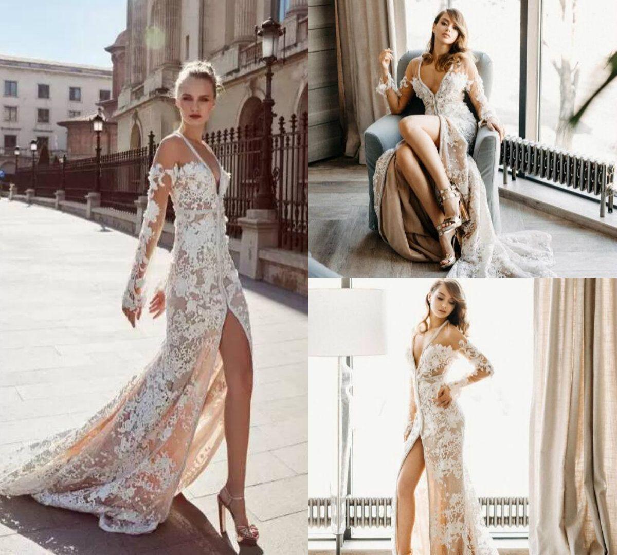 43fd62bca743 Discount 2018 Mermaid Wedding Dresses Deep V Neck Lace Applique High Split  Sweep Train Sexy Boho Wedding Gowns Beading Long Sleeve Bridal Dress Lace A  Line ...