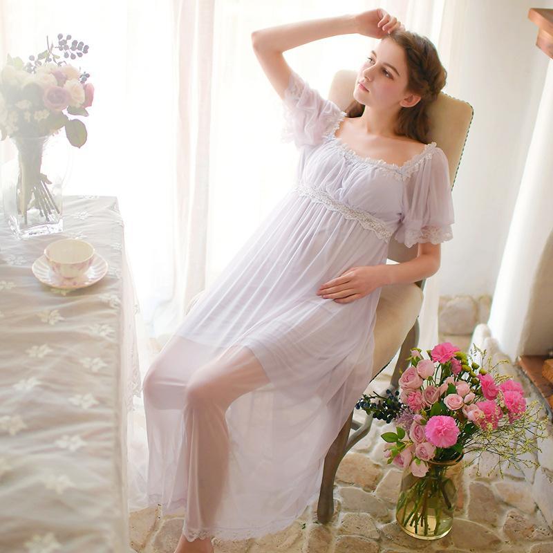 8ede30afb Compre Pura Verdadeira Memória Puro Malha Rendas Camisola Princesa Manga  Curta Camisola Senhoras Sleepwear Sleepwear Das Mulheres Brancas De  Bestdh2014