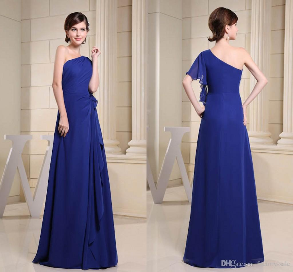 Royal Blue One Shoulder Ruffle Actual Pictures Chiffon Bridesmaid Dresses Floor Length Maid of Honor Dresses Wedding Guest Gowns WD3-042