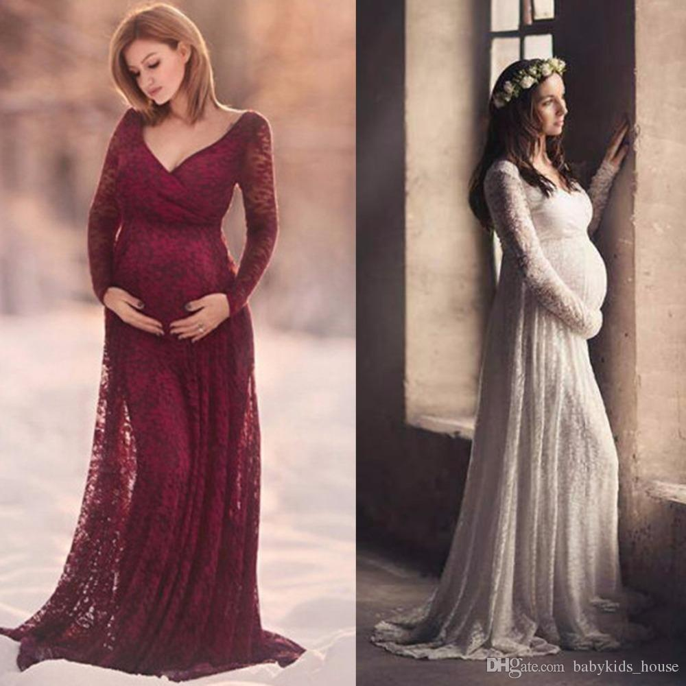 a506000a48b 2019 Lace Maternity Dress Photography Props V Neck Long Sleeve Maxi Maternity  Gown Dress Pregnant Women Elegant Photo Shoot Dress M 2XL From  Babykids house