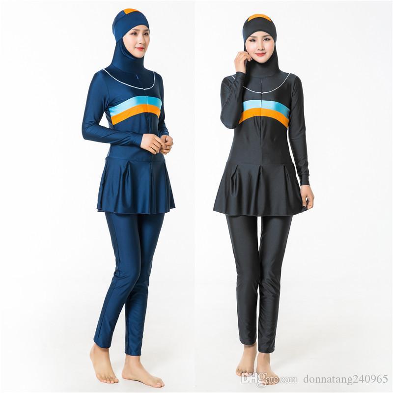 839100c20aa 2019 Swimwear Muslim Plus Size Female Bathing Suit Two Piece Swimsuit For Women  Beachwear 2018 New Islamic Swimsuit From Donnatang240965