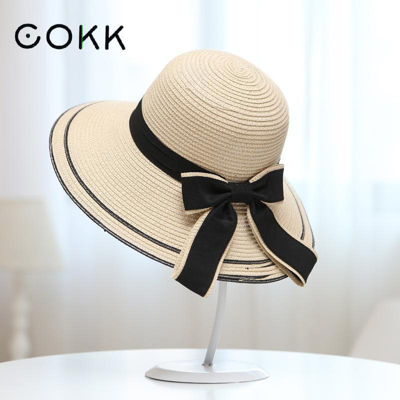 b1730c3350af0 COKK Sun Hat Big Black Bow Summer Hats For Women Foldable Straw Beach  Panama Hat Visor Wide Brim Femme Female 2017 New Church Hats Vintage Hats  From ...