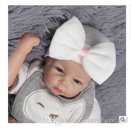 Großhandel Hair Bows Hut Neugeborenes Baby Mädchen Häkeln Beanie ...