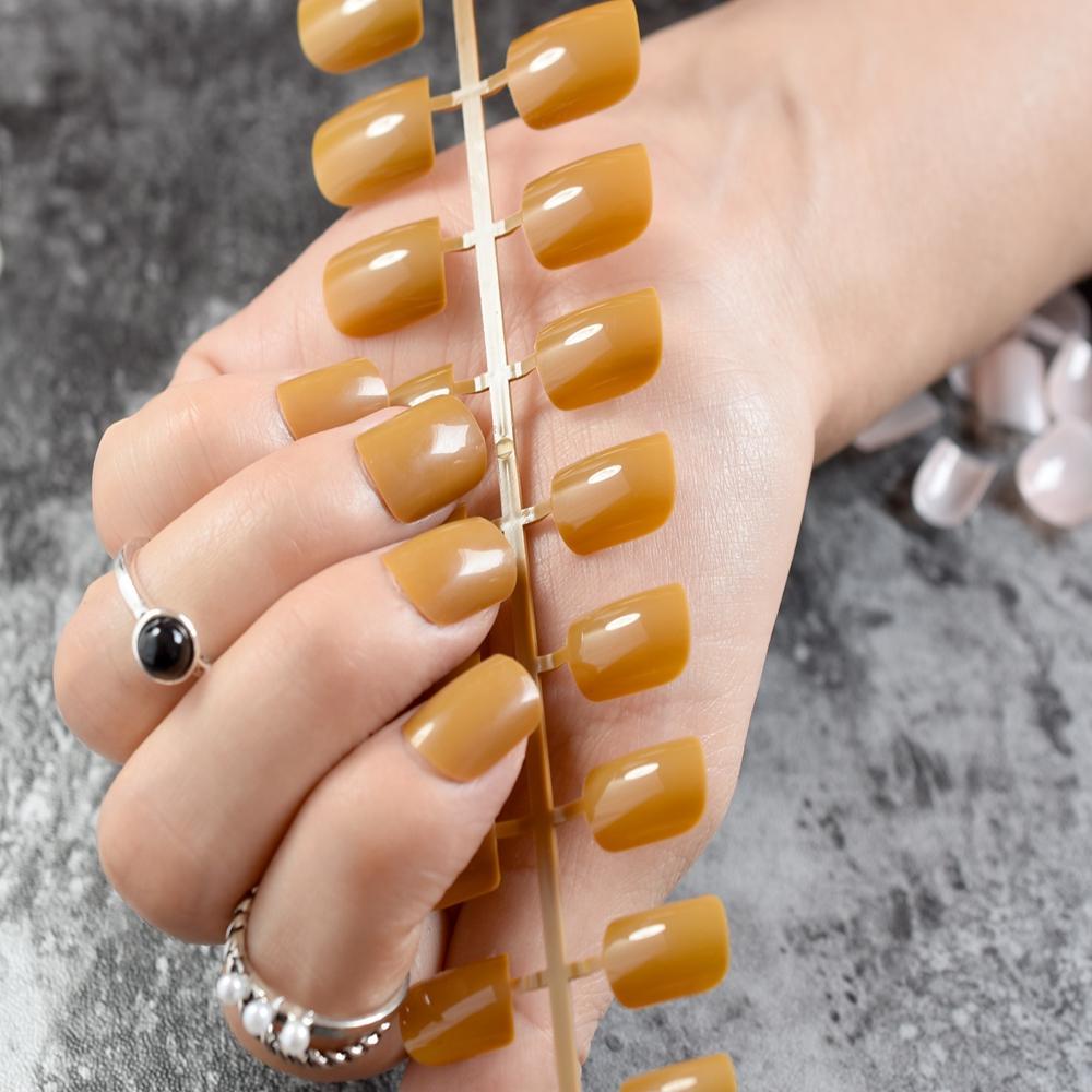 Candy Terracotta Short Fake Nails Medium Falt False Nail DIY Nail ...