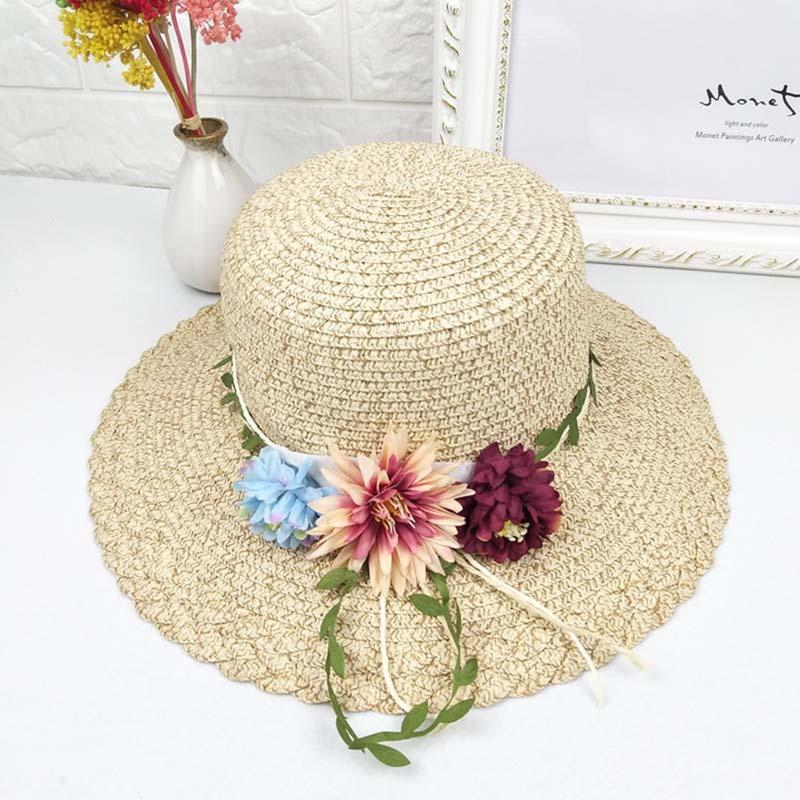Compre Verano De Las Mujeres Sombreros Del Sol Estudiante Flor Decoración  Sombrero De Paja Sombrero De Paja Al Aire Libre Ocio Playa Viajes Sombras  Gorras ... 49f570ad5f1