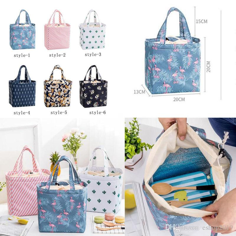 Lady Lunch Bag Insulated Reusable Lunch Tote Organizer Cooler Bag Drawstring Lunch Handbag Box Foldable Large Capacity for Woman Girl