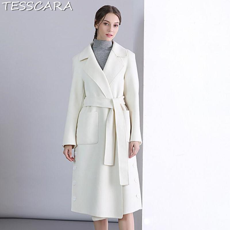 Acquista TESSCARA Donna Autunno Inverno Di Alta Qualità Bianco Cappotto Di  Cashmere Cappotto Femminile Misto Lana Trench Soprabito Giacche Capispalla  ... 45ba62b246b