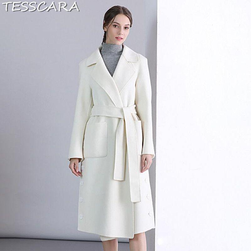 Jacken Jacke Kaschmir Herbst Tesscara Qualität Hohe Weibliche Frauen Oberbekleidung Winter Graben Weiß Wollmischung Mäntel Mantel qSpVUzMG