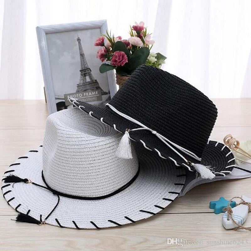 Wholesale- Vanled Foldable Straw Knitted Sun Hat For Women Summer Beach Anti-UV Sun Visor Hat Soft Female Wide Brim Floppy Cap Chapeau