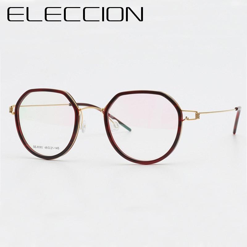 ce17415b83bfc Compre ELECCION Titanium Ultraleve Coreano Armação De Óculos Redondos Mulheres  2018 Nova Miopia Óculos Frames Ópticos Homens Sem Parafusos Óculos De ...