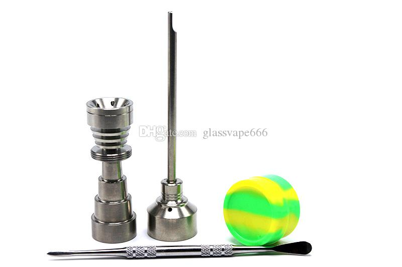 10mm & 14mm 18mm Adjustable Titanium Nails Set Glass Bong Tool Domeless GR2 Titanium Nail with Carb Cap Dab Tool Slicone Jar Dab Container