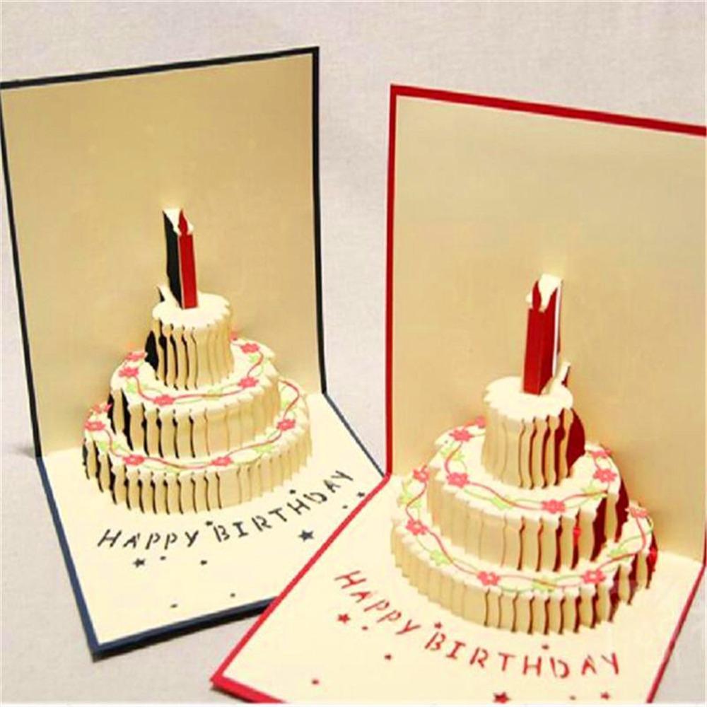 New Birthday Gift Cake Card 3d Pop Up Fairy Kirigami Greeting