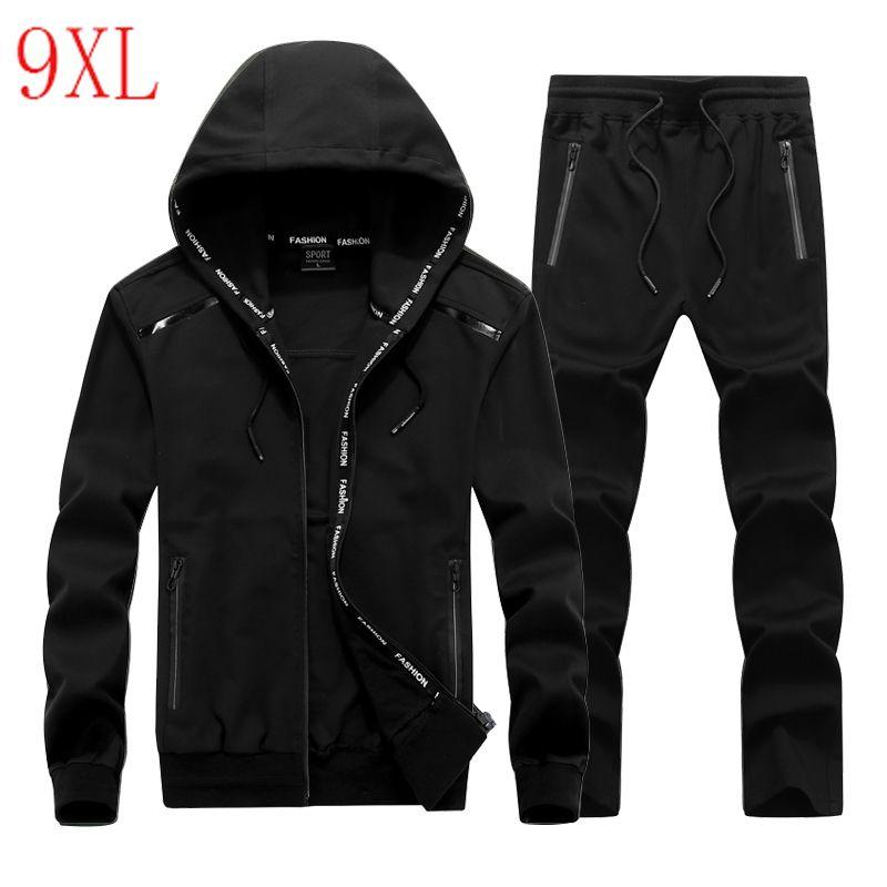 bcd53c0e783c Мужчины спортивный костюм эластичный плюс размер балахон набор  ветрозащитный ...