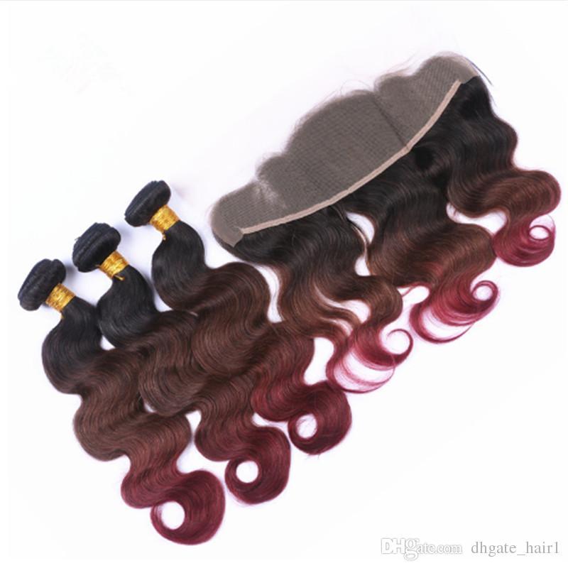 Объемная волна #1b/4/99J три тона Ombre перуанский пучки человеческих волос с 13x4 полный кружева фронтальная закрытие Nurgundy Ombre девственные волосы ткет