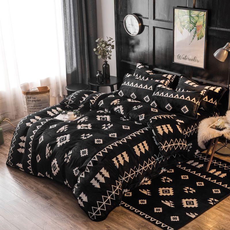 Bohemia Style Black Color Queen Size Comforter Set Warm Fleece