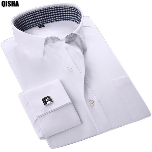 Acheter QISHA 2017 Nouvelle Poignets Français Hommes Chemises Habillées Manches  Longues Social Fomal Homme Vêtements Solide   Rayé Haute Qualité Slim Fit  ... 4ee89044d01