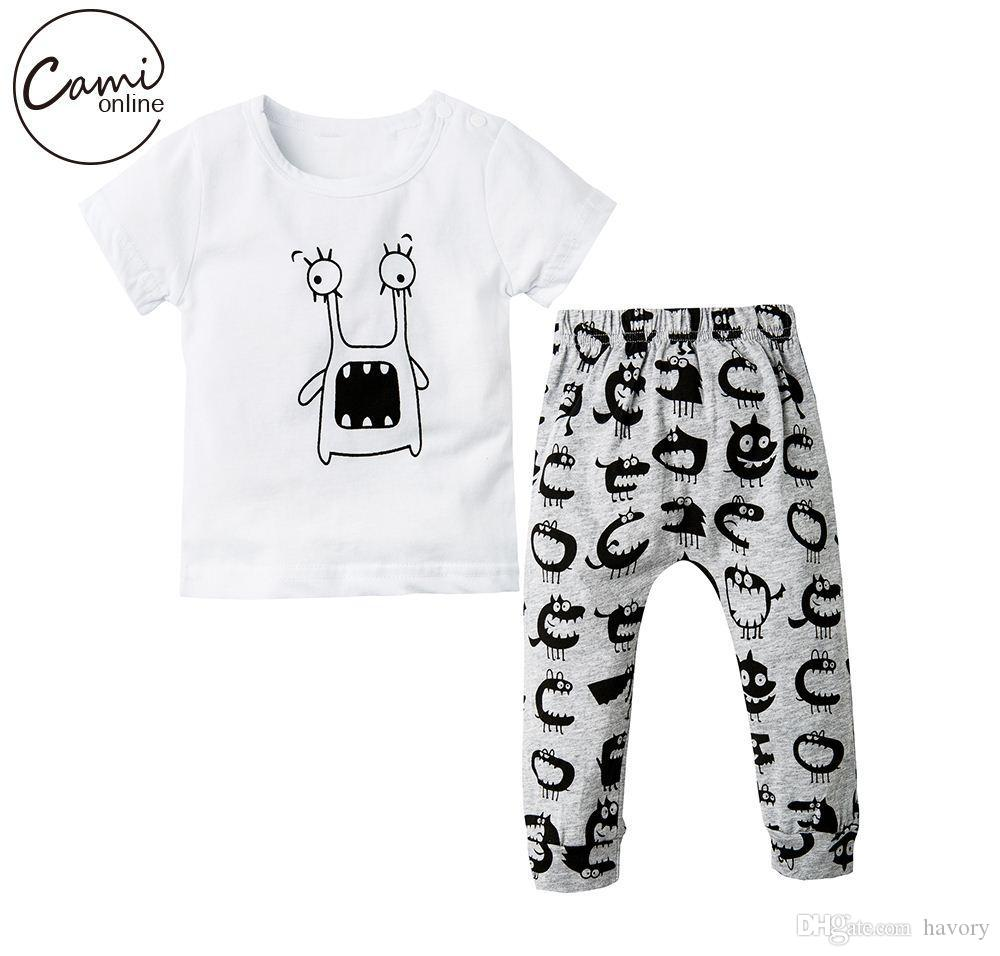 8f5084bc28a Baby Cotton Clothing Sets Newborn Girl Boy Outfits Set Cartoon Pattern  Costume Toddler Short Sleeve Clothes T-shirt Pants Online with  32.0 Set on  Havory s ...