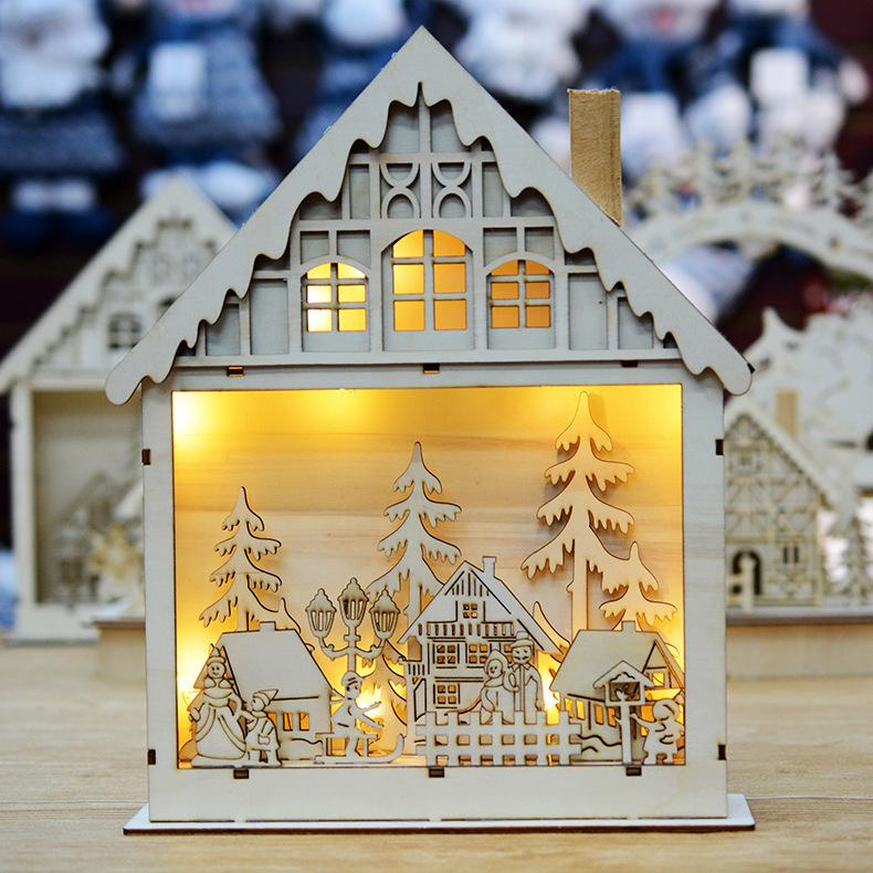 2019 2018 New Luminous Christmas Decoration Wooden House