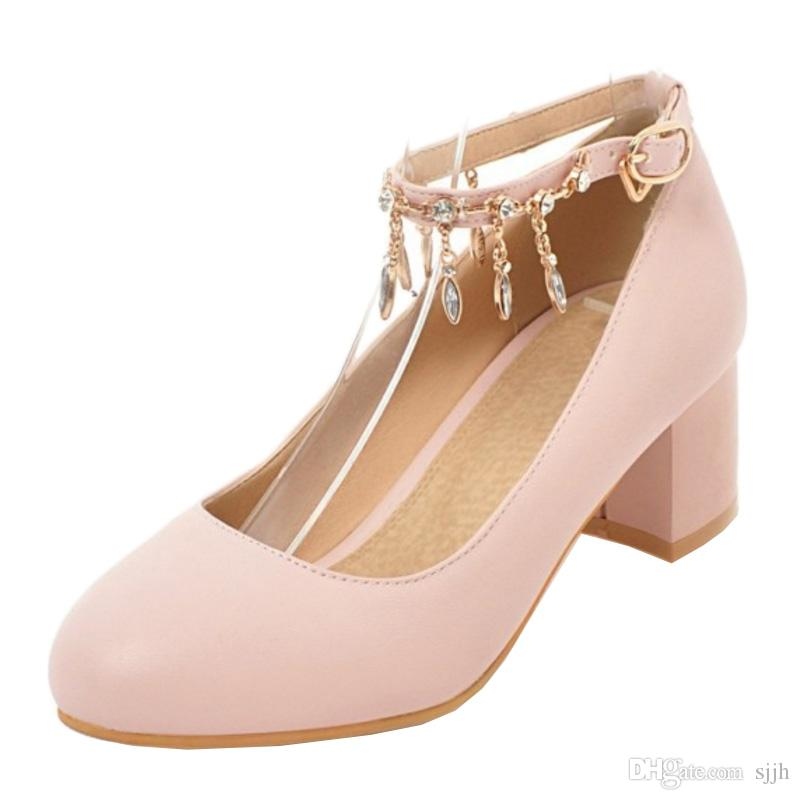 SJJH 2018 Woman Pumps with Round Toe and Chunky Heel Elegant Style Shoes for Fashion Women with Large Size Available A134