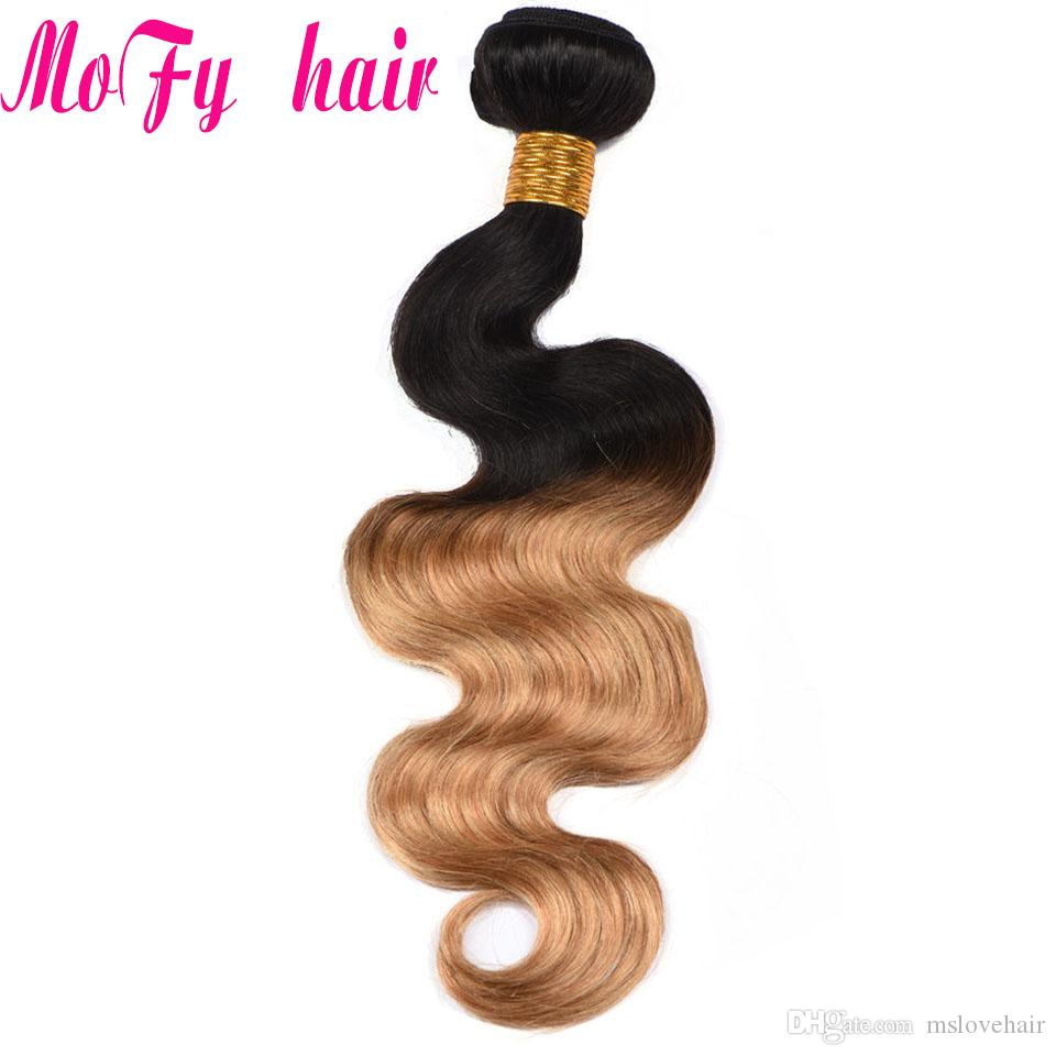 Ombre Brazilian Hair Body Wave Blonde Human Hair Weave 2 Tone 1B/Cheap Peruvain Malaysain Indian Body Wave 4 Bundles Deal