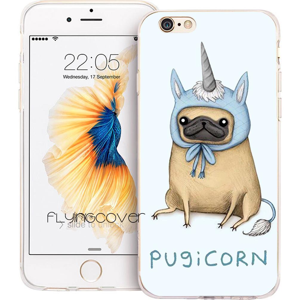 sports shoes 046e1 c161f Coque Pug Unicorn Pugicorn Cases for iPhone 10 X 7 8 Plus 5S 5 SE 6 6S Plus  5C 4S 4 iPod Touch 6 5 Clear Soft TPU Silicone Cover.