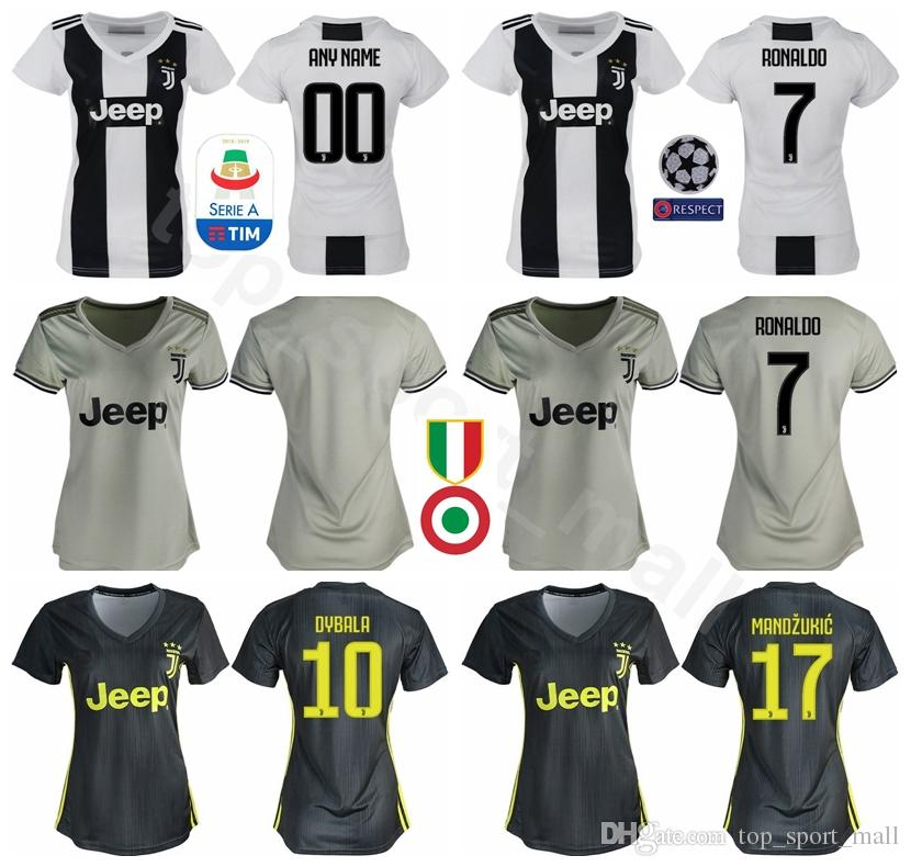 18 19 Temporada Juventus Camisetas Mujer RONALDO FC Lady Soccer DYBALA  MANDZUKIC MATUIDI BONUCCI PJANIC Camiseta De Fútbol Kit Mujer Gris Blanco  Por ... e26f919742763