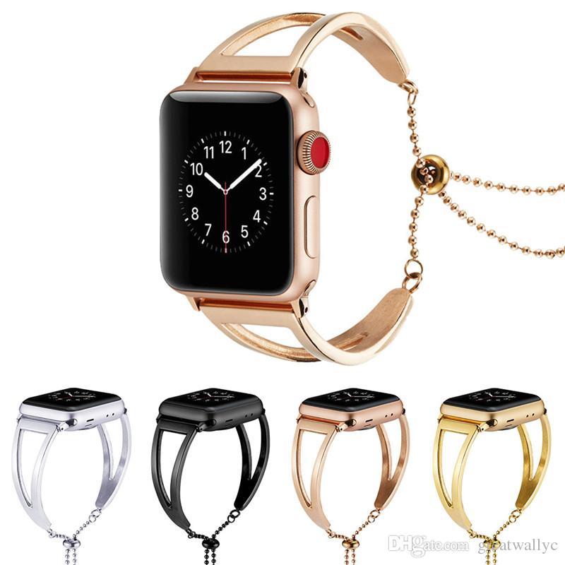 992abcdbf88b2 Compre Correa De Acero Inoxidable De Lujo Para Apple Watch Band 42mm 38mm Enlace  Pulsera Correa De Reloj Para IWatch 3 2 1 Metal Muñequera A  7.82 Del ...
