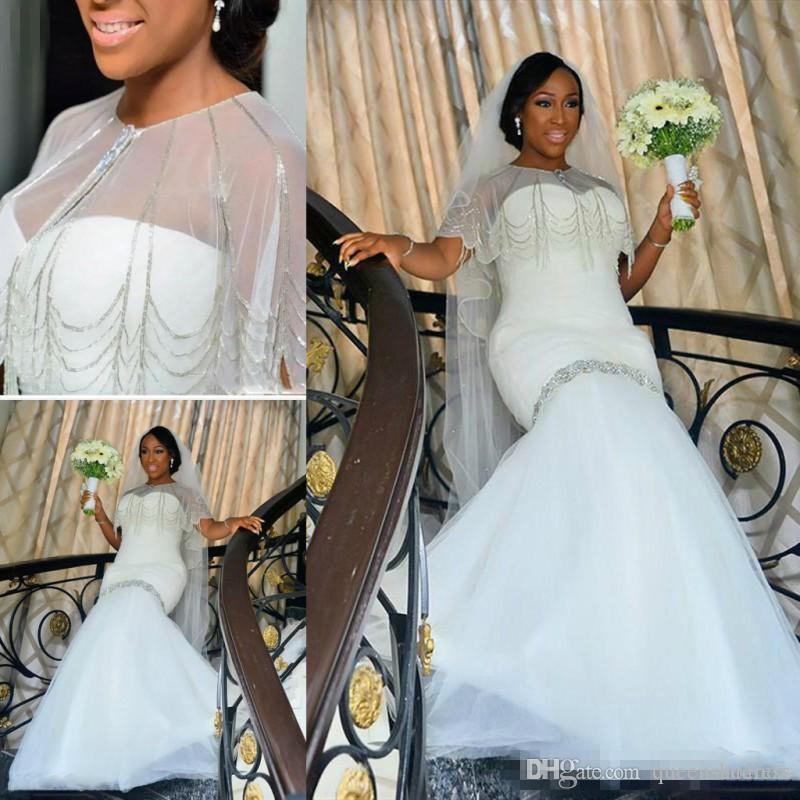 4d595520a6 Amazing Plus Size Wedding Dresses Cap Style Mermaid Bridal Gowns Beaded  Tulle Floor Length South African Wedding Vestidos Custom Made Mermaid Cut  Wedding ...