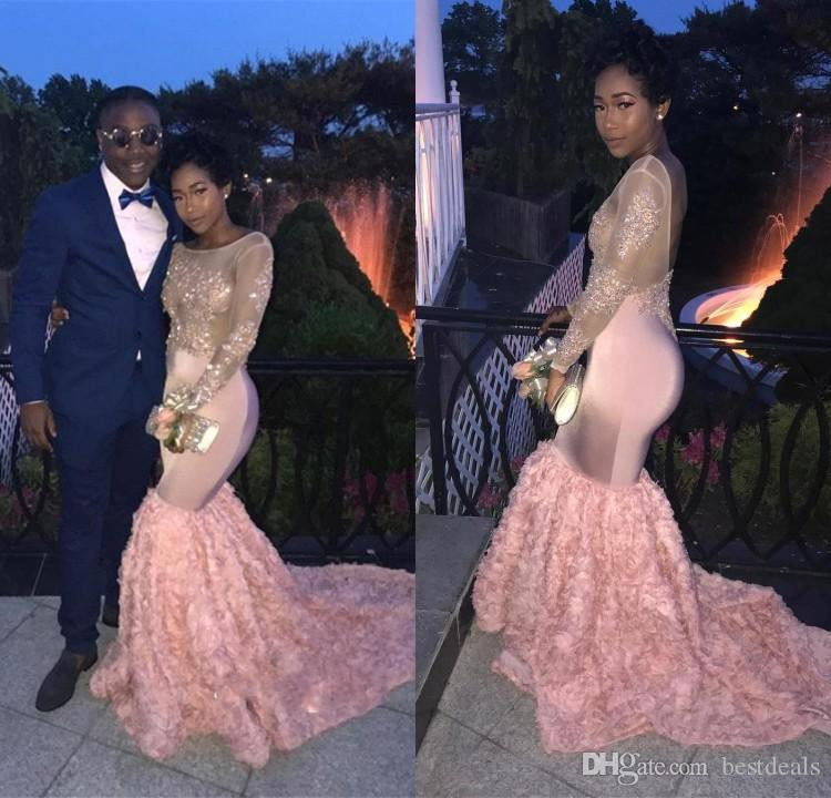 9c696ba5585fb African Pink Mermaid Prom Dresses 2018 Black Girls Long Sleeves Beads Lace  Handmade Flowers Prom Gowns Open Back Evening Dresses BA8053