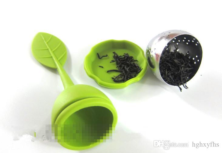 2015 Yeni ev Paslanmaz Çelik Çay Kaşığı Demlik Süzgeç Filtre Yeşil Silikon Yaprak Kapağı