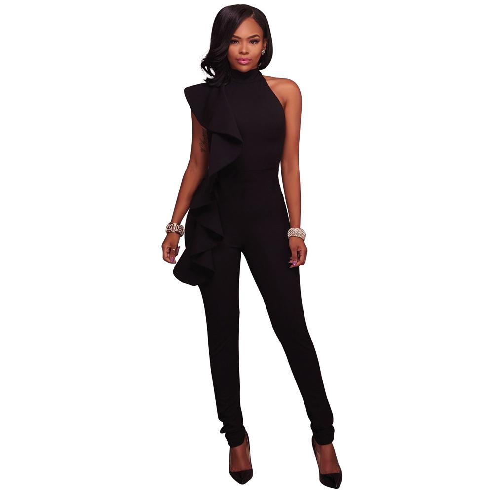 3f9f455a535 2019 Fashion Women Side Ruffle Cold Shoulder Jumpsuit High Neck Sleeveless  Playsuit Slim Party Club Women Bodysuit Rompers Clothes From Blueberry15