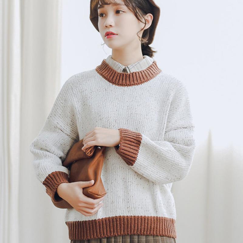02f9b6ad2 Compre Coreano Camisola De Malha Retro 2018 Outono Inverno Estilo Feminino  Doce Pullover Tops Mulheres Em Torno Do Pescoço Solto Manga Longa Blusas De  Malha ...