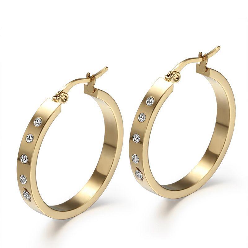bab3fcf2c5b3 Compre Pendientes De Aro Redondos Grandes Para Mujer Color Dorado Con  Diamantes De Imitación Brillante Piedra Antialérgica Estilo EURO EE. UU.