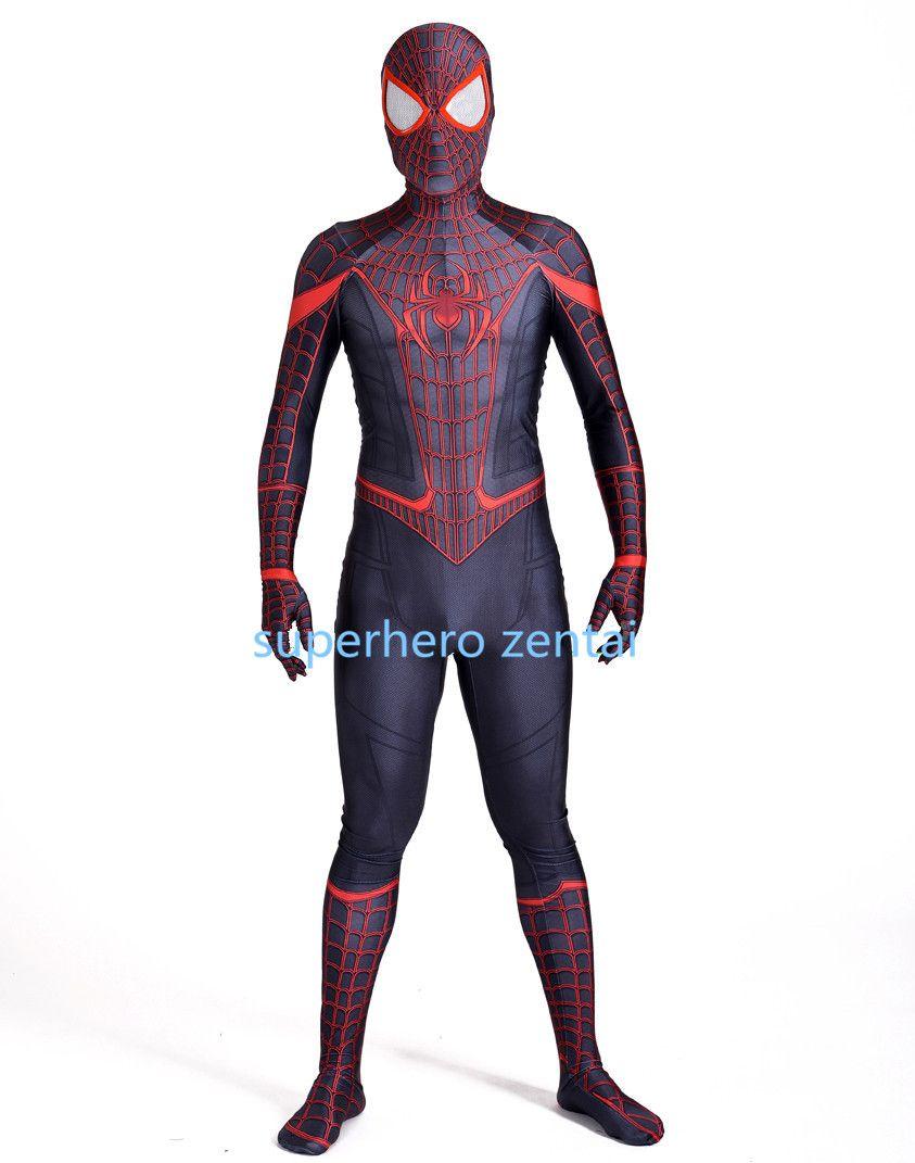 Lycar Spandex Spider Man Stunning Miles Morales Costume 3d Print Halloween Cosplay Fullbody Superhero Zentai Suit Halloween Costumes Children Large Group ...  sc 1 st  DHgate.com & Lycar Spandex Spider Man Stunning Miles Morales Costume 3d Print ...