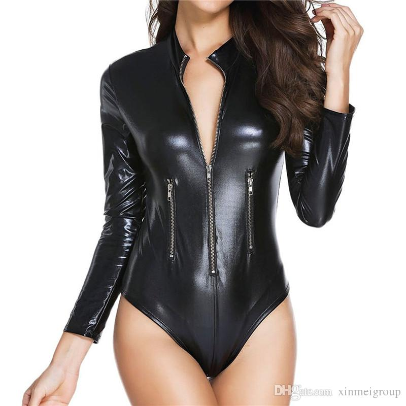 4abac815b669 2019 Women Long Sleeve Latex Lingerie Gothic Faux Leather Bodysuit Zipper  Fetish Wetlook PVC Catsuit Erotic Clubwear PU Jumpsuit W860903 From  Xinmeigroup