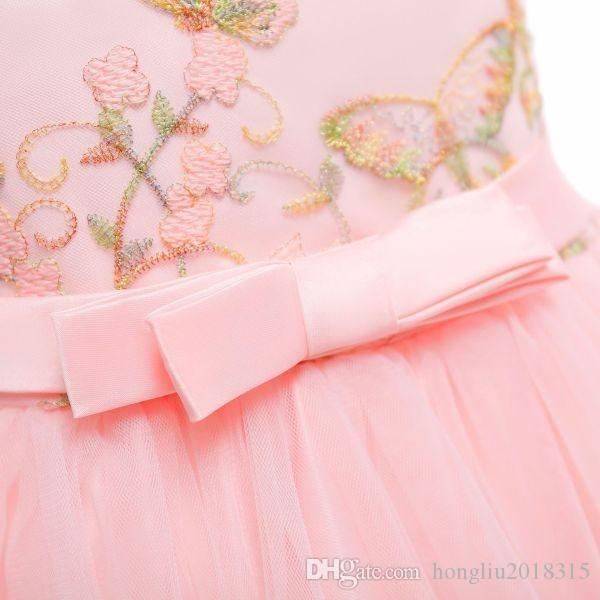 Wholesale- Cheongsam Embroidery Formal Tulle Baby Girls Sleeveless Chinese Style Evening Gown Party Wedding Princess Dresses KA842