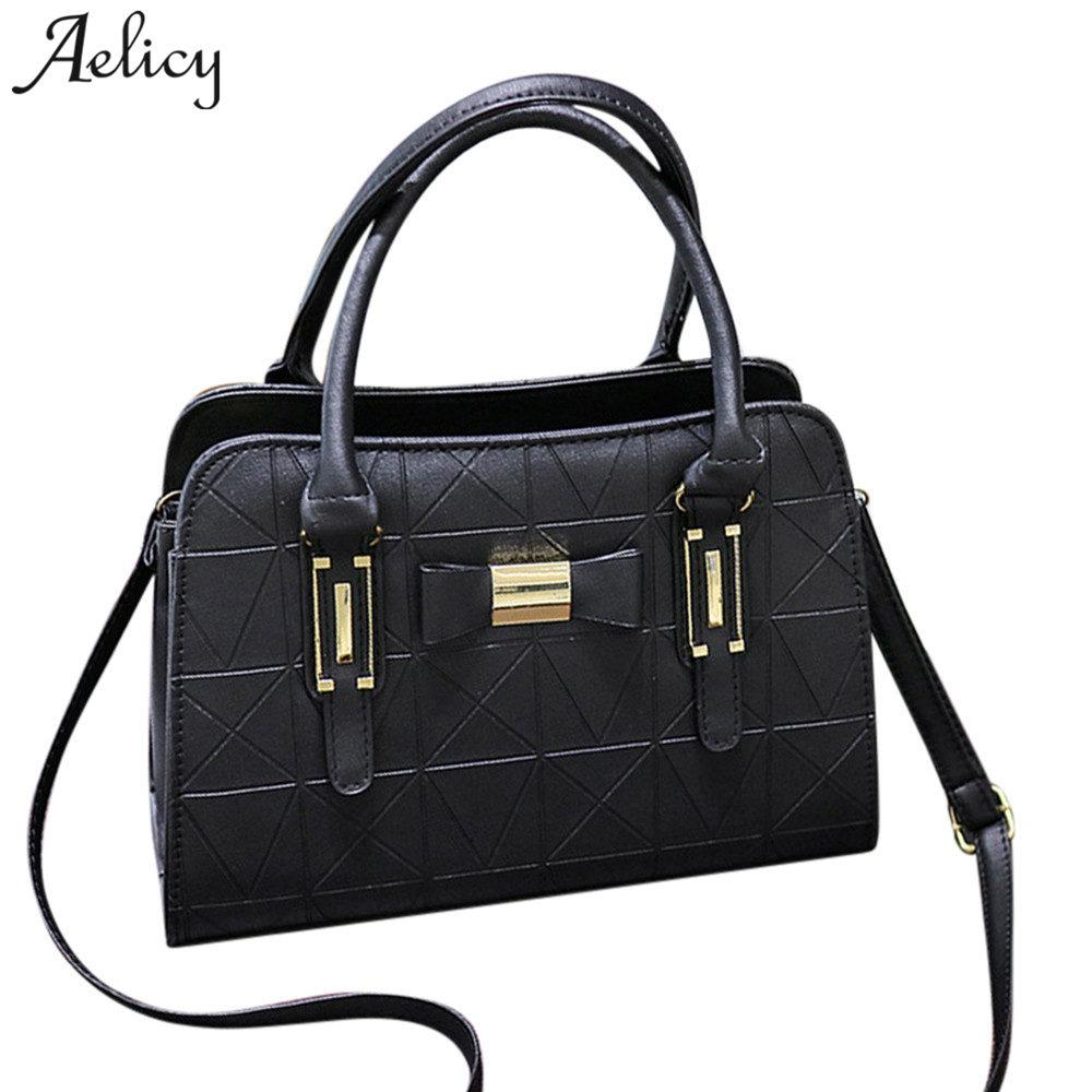 Aelicy 2018 New Design PU Leather Fashion Women Bowknot Crossbody Bag Fake Designer  Handbags Solid Leather Traveling Bag Female Designer Handbags On Sale ... c2113145cfc9a