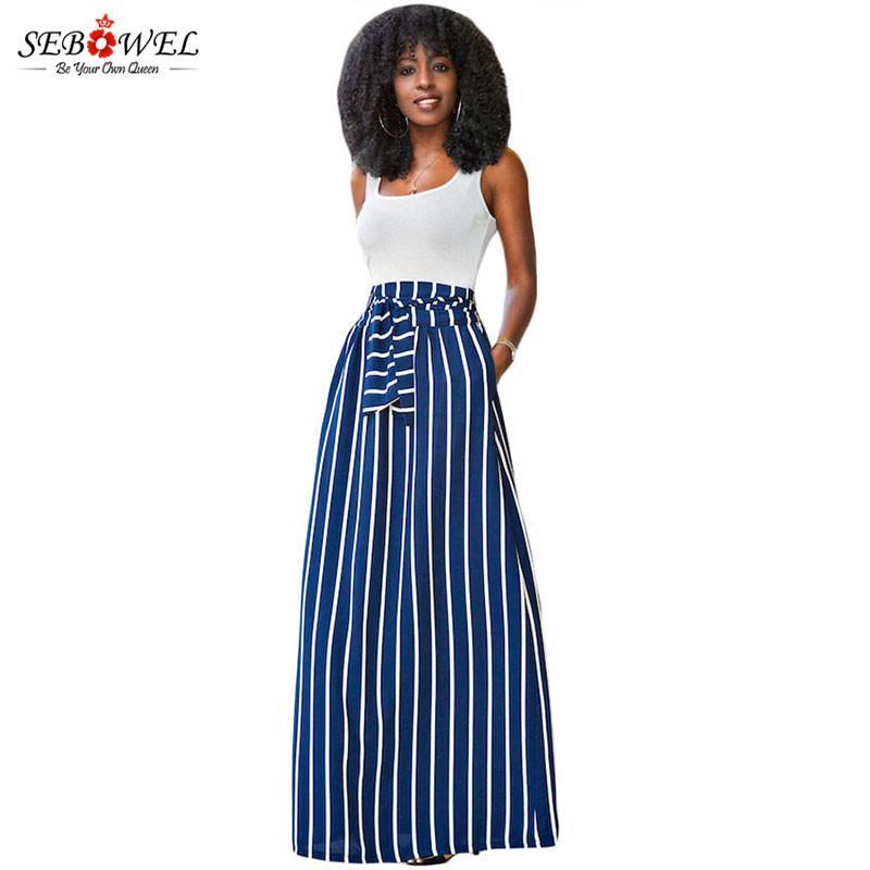 a0e2de126 SEBOWEL 2018 faldas largas de las mujeres del verano del color Chic  Colorblock faldas maxi a rayas de longitud completa cintura alta corbata  Big Hem ...