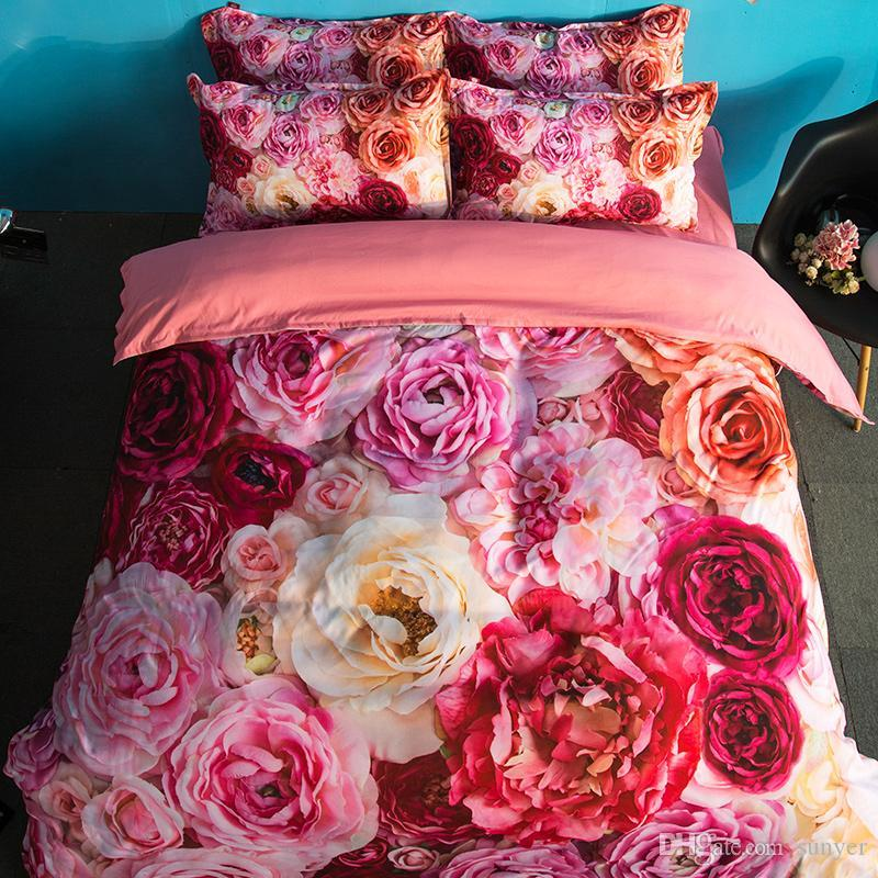 bbbcb35dc0 American Style 3d Bedding Set Red Pink Yellow Flower Bed Linen Include  Duvet Cover Flat Sheet Pillowcases Polyester King Queen Green Bedding Sets  Queen ...