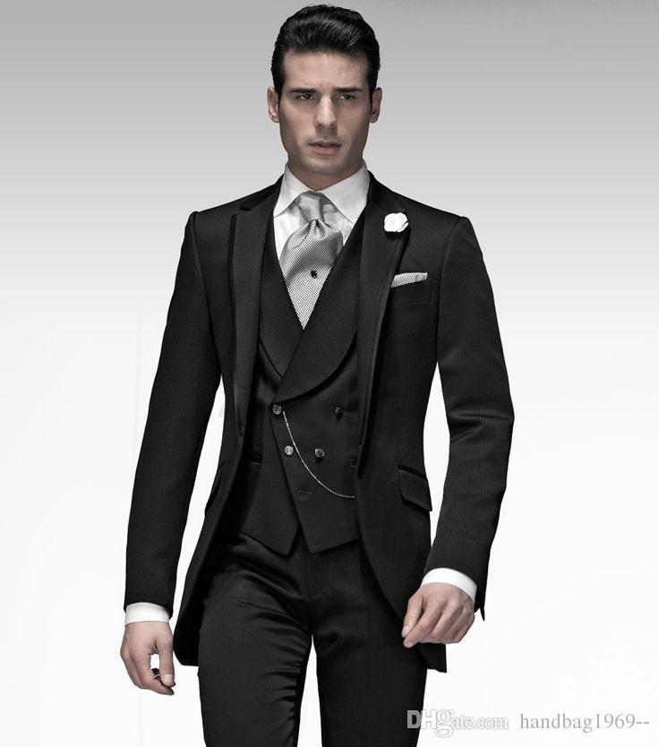 Neuheiten One Button Schwarz Bräutigam Smoking Groomsmen Peak Revers Best Man Blazer Herren Hochzeit Anzüge Jacke + Pants + Weste + Tie H: 709