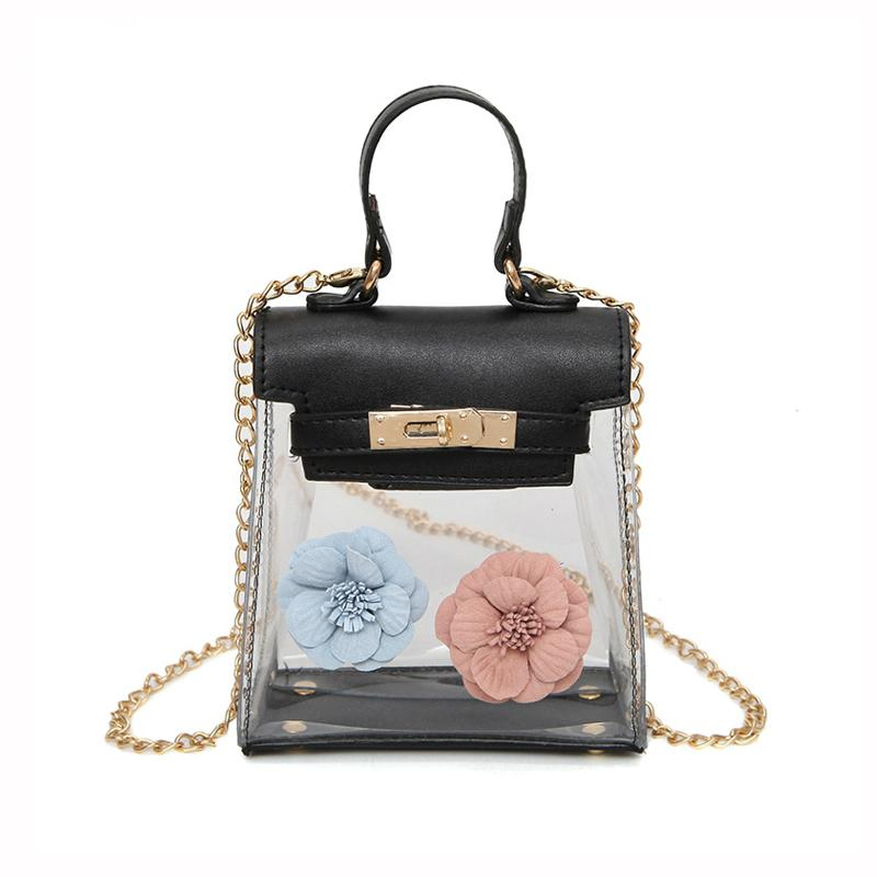 2018 New Women Mini Transparent Small Bag Fashion Flower Handbags Sweet  Lady Jelly Crossbody Bag Chain Shoulder Messenger Bags Clutch Purse Cross  Body ... 22448f8100846