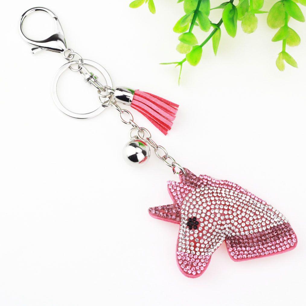 New arrival fashion Unicorn Horse Keychain Trinket crystal Leather Tassels Key Chains Holder For Car Keyrings KeyChains For Man Woman Jewel