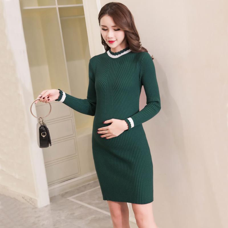 d66ca3d19 Compre Vestido De Maternidad De La Moda Coreana Otoño Vaina Delgada De  Punto Ropa Para Mujeres Embarazadas Embarazo Encantador De Fondo A  22.72  Del ...