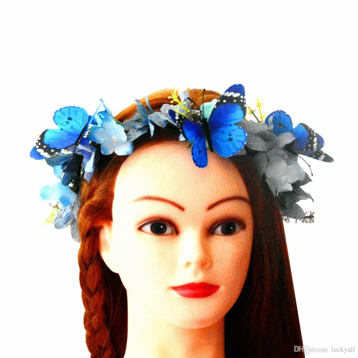 Compre Mariposa Azul Y Flor Corona Tocado Flores Diademas Para El Cabello  Para Mujeres Accesorios Para El Cabello Nupcial Tocados Para Novia Tocado  De Novia ... 7b06639351fe