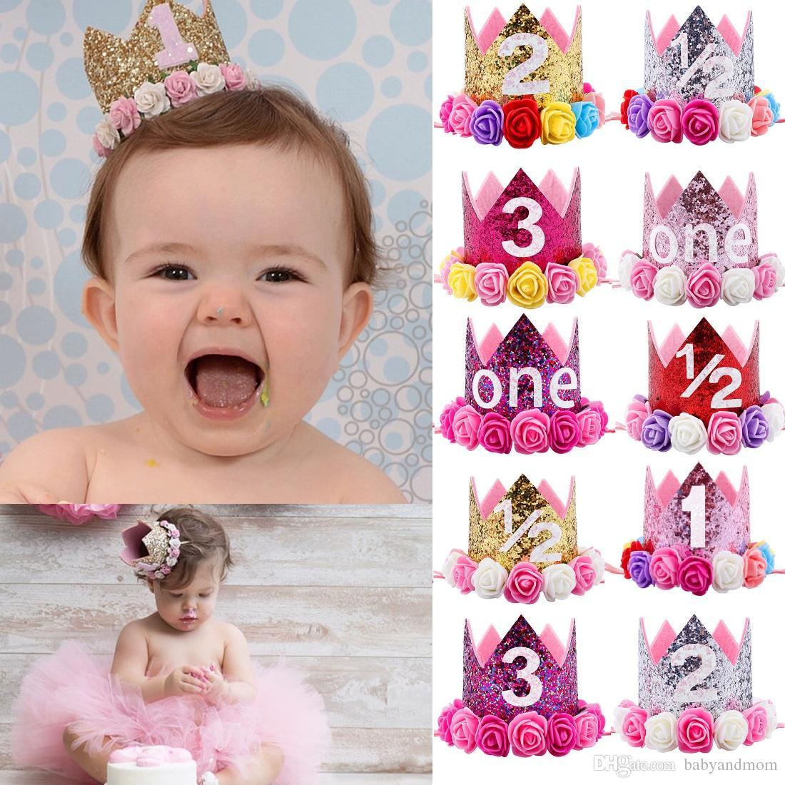 Baby Girls Flowers Crown Headbands Birthday Party Tiara Hairbands