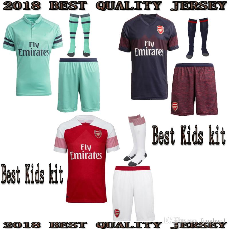 Top 2018 2019 Arsenal Home Away 2RD Kids Soccer Jerseys AUBAMEYANG WILSHERE  OZIL WALCOTTArsenal Third Jersey 2018 19 Children Football Shirt OZIL Jersey  . f8ea5ee19