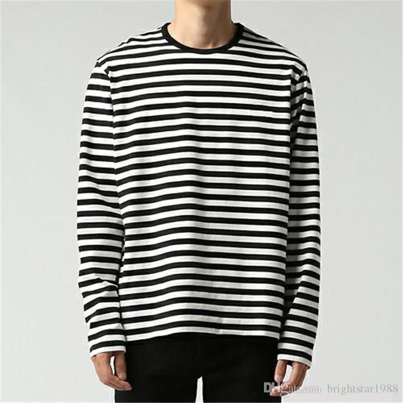 fcf2fe044 Korean Harajuku GD Black White Striped T Shirt Men Women Unisex Loose  Oversize Extra Long Sleeve Couple T Shirt Tee Shirt Of The Day Link Shirts  From ...